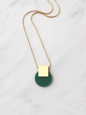 Wolf & Moon Sol Necklace Dark Green