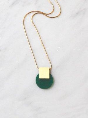 Wolf & Moon Sol Necklace Dark Green