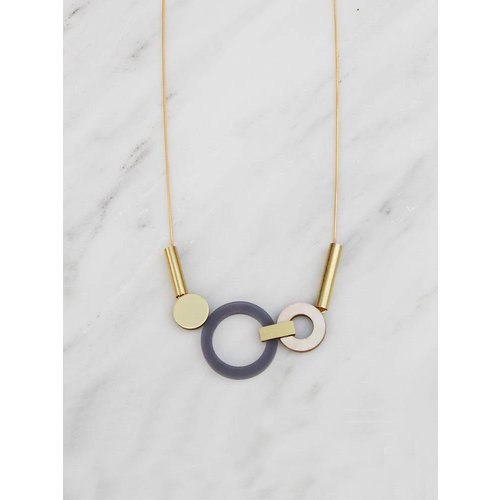 Wolf & Moon Lora Necklace Navy