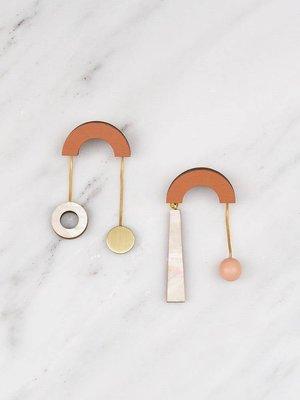 Wolf & Moon Cascade Earrings - Orange