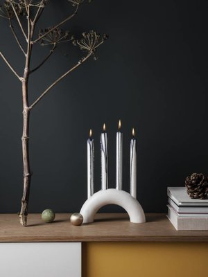 ferm LIVING Bow Solid Marble Candle Holder - White