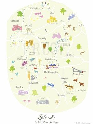 Holly Francesca Holly Francesca Map of Stroud & the 5 Valleys - A4