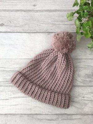 Roake The Betty Merino Bobble Hat - Dusky Pink