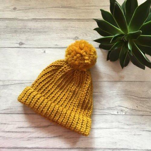 Rosie Drake Knight The Betty Merino Bobble Hat - Mustard