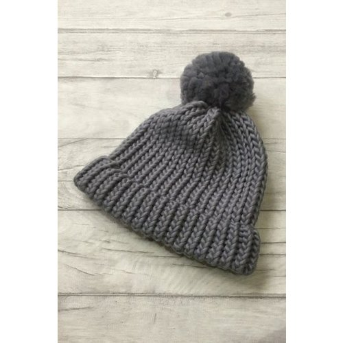 Roake The Betty Merino Bobble Hat - Charcoal