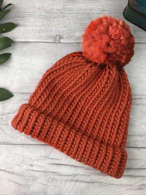 Rosie Drake Knight The Betty Merino Bobble Hat - Coral