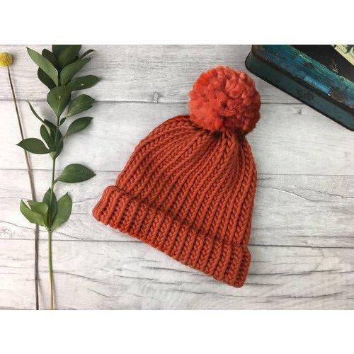 Roake The Betty Merino Bobble Hat - Coral