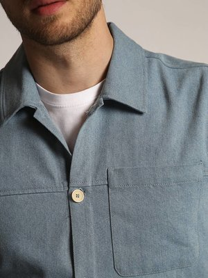 HYMN London HYMN 'CHIMENIA' - BLEACHED DENIM OVERSHIRT