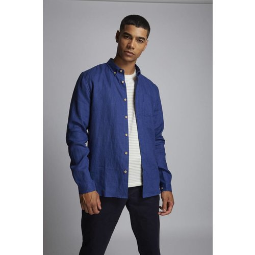 HYMN London 'OCEAN' Linen Blend Indigo Shirt