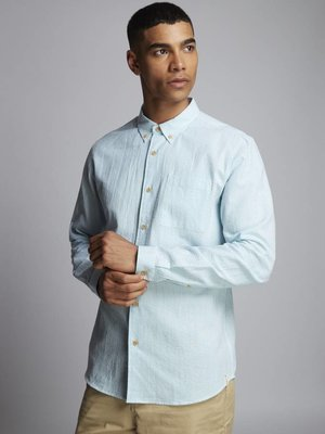 HYMN London 'DECKCHAIR' Seersucker Aqua Stripe Shirt
