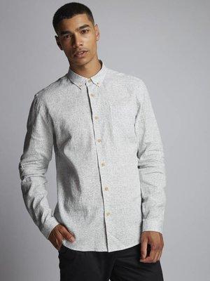 HYMN London 'PEBBLE' Jaspe Cotton Linen Blend Indigo Shirt