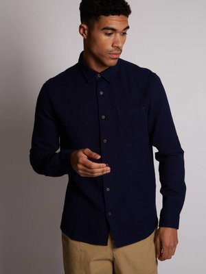 HYMN London 'COAST' Textured Waffle Indigo Blue Shirt