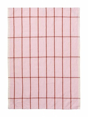 ferm LIVING Hale Yarn Dyed Linen Tea Towels - Rose/Rust