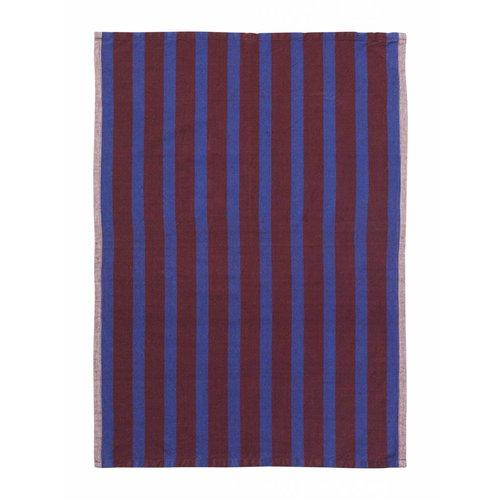 ferm LIVING Hale Yarn Dyed Linen Tea Towels - Brown/Navy