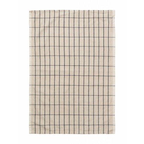 ferm LIVING Hale Yarn Dyed Linen Tea Towels - Sand/Black