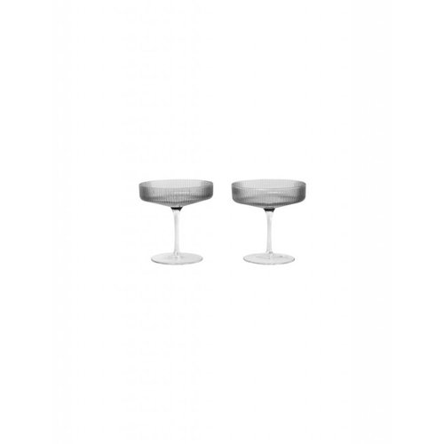 ferm LIVING Ripple Champagne Glass (Set of 2) - Smoked Glass