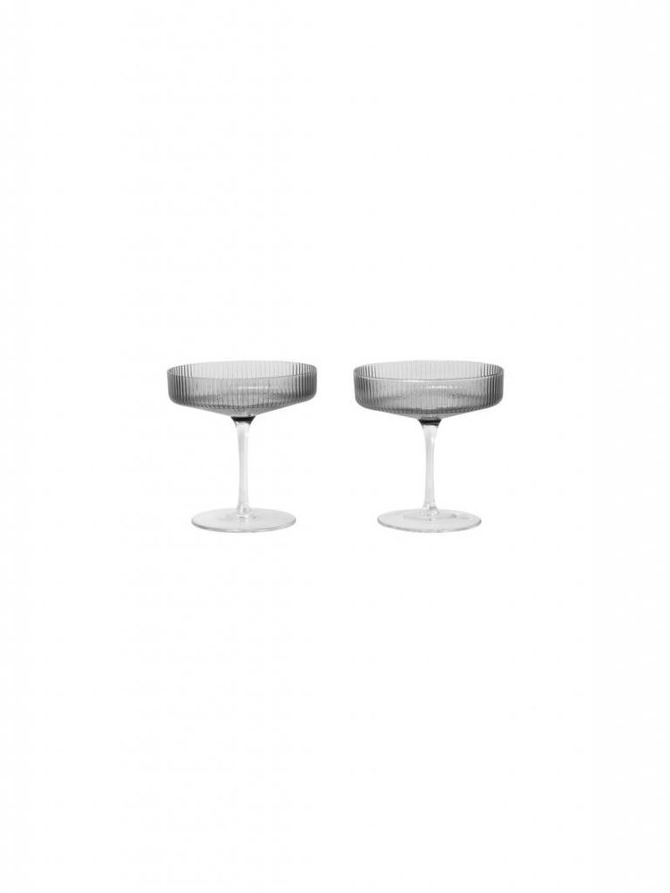 ferm LIVING ferm LIVING Ripple Champagne Glass (Set of 2) - Smoked Glass