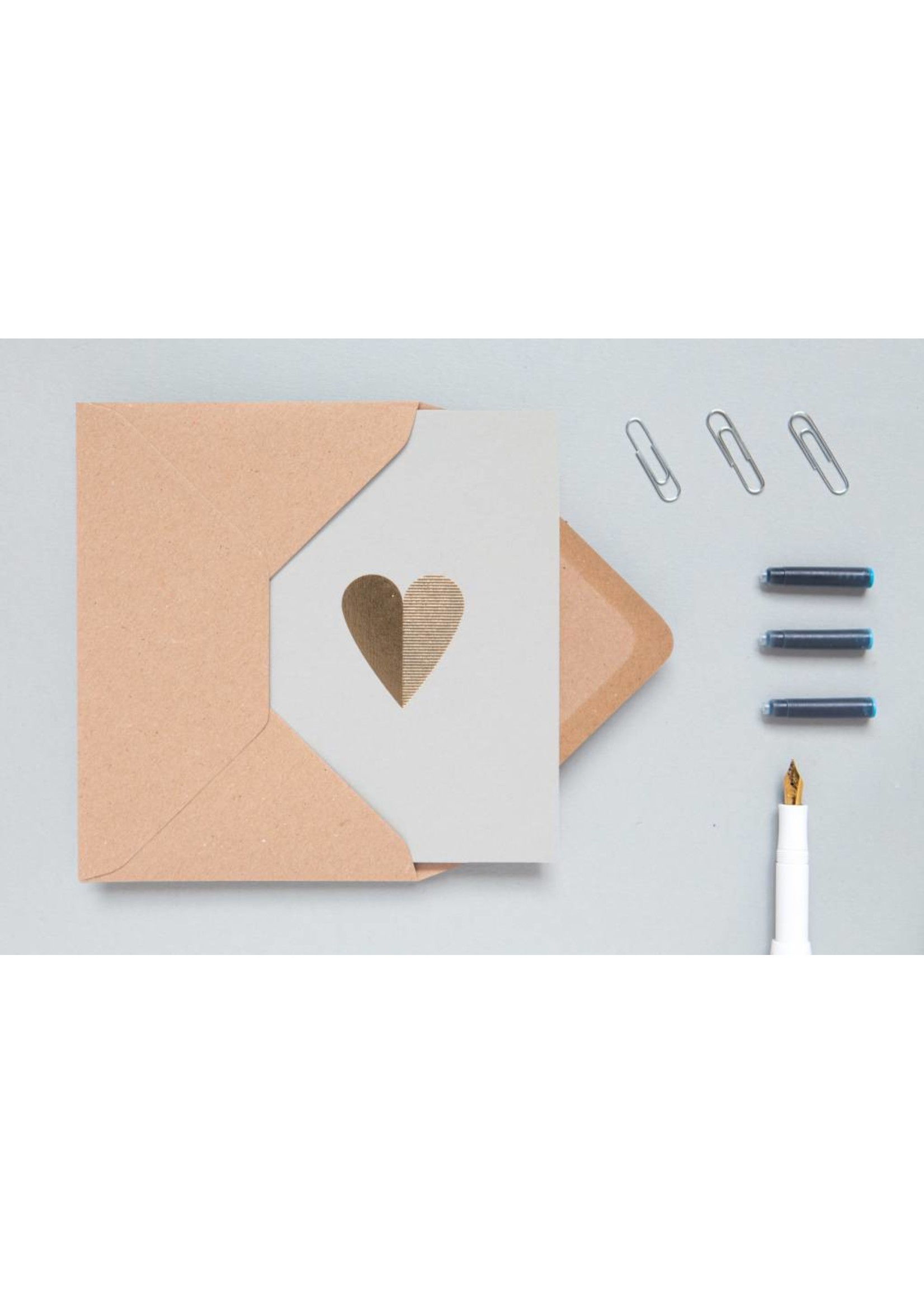 Ola Ola Foil Blocked Cards: Heart Light Grey/Brass