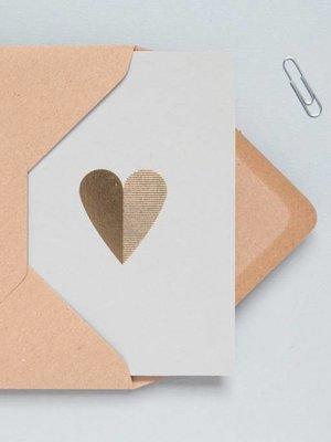 Ola Foil Blocked Cards: Heart Light Grey/Brass