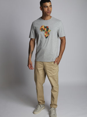 HYMN London 'AFRICA' Embroidered T-Shirt - Grey Marl