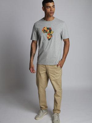 HYMN London HYMN 'AFRICA' Embroidered T-Shirt - Grey Marl