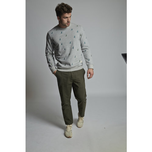 HYMN London 'REX 2' T-Rex Embroidered Grey Sweatshirt