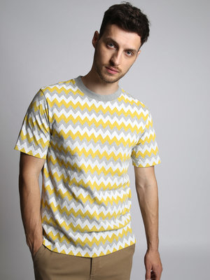 HYMN London 'DUNES' PRINT T-SHIRT - YELLOW / GREY MARL / WHITE