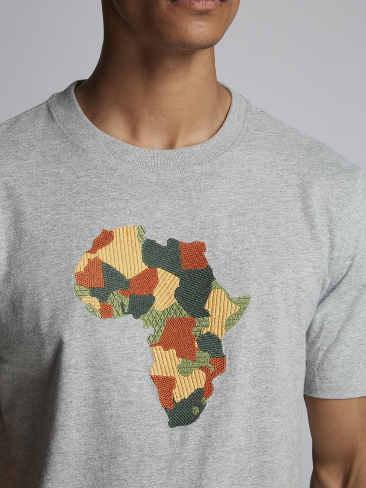 HYMN London HYMN 'AFRICA' Embroidered T-Shirt - Grey Marl