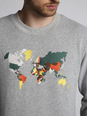 HYMN London HYMN 'ATLAS' World Map Embroidered Sweatshirt - Grey Marl