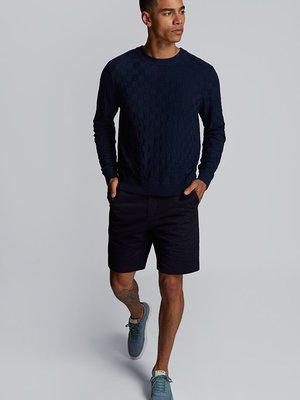 HYMN London 'CHESS' Navy Basket Weave Knitted Crew Sweatshirt
