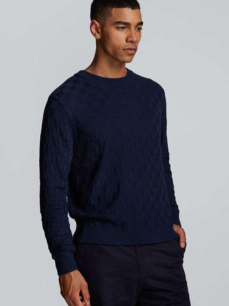 HYMN London HYMN 'CHESS' Navy Basket Weave Knitted Crew Sweatshirt