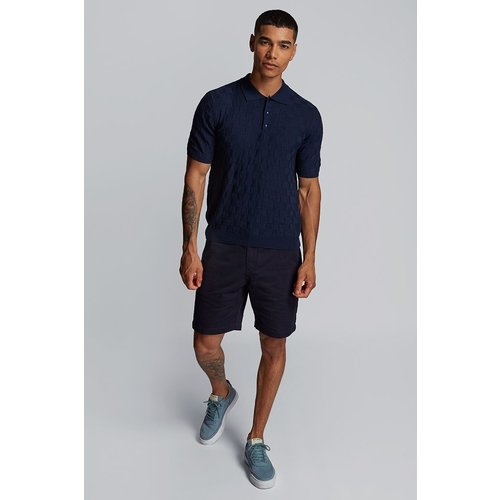 HYMN London 'RACKET' TEXTURED Polo Shirt - Navy