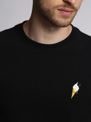 HYMN London 'NINETY-NINE' Embroidered Ice Cream T-Shirt - Black