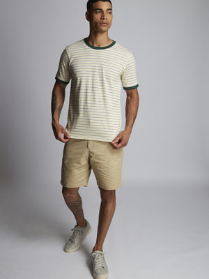 HYMN London 'WRONGLANE' Two Stripe Green/Yellow T-Shirt