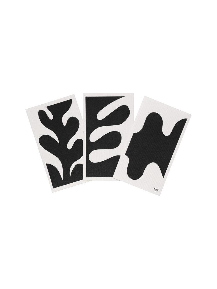 ferm LIVING ferm LIVING Leaf Dish Cloths - Black - Set of 3