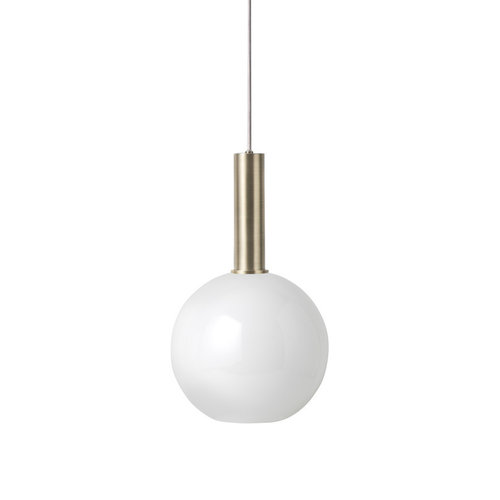 ferm LIVING High Brass Pendant & Opal Sphere Shade