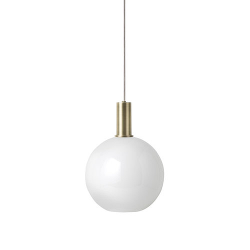 ferm LIVING Low Brass Pendant & Opal Sphere Shade