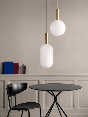 ferm LIVING ferm LIVING Lighting - High Brass Pendant & Opal Sphere Shade
