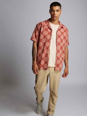 HYMN London 'SPOT' Orange Printed Spot Resort Shirt