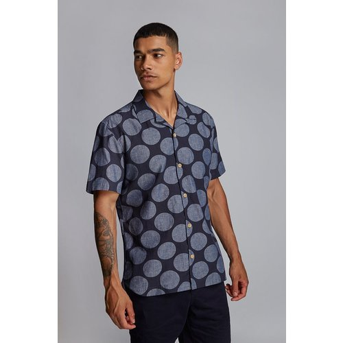 HYMN London 'SPOT' Indigo Printed Spot Resort Shirt