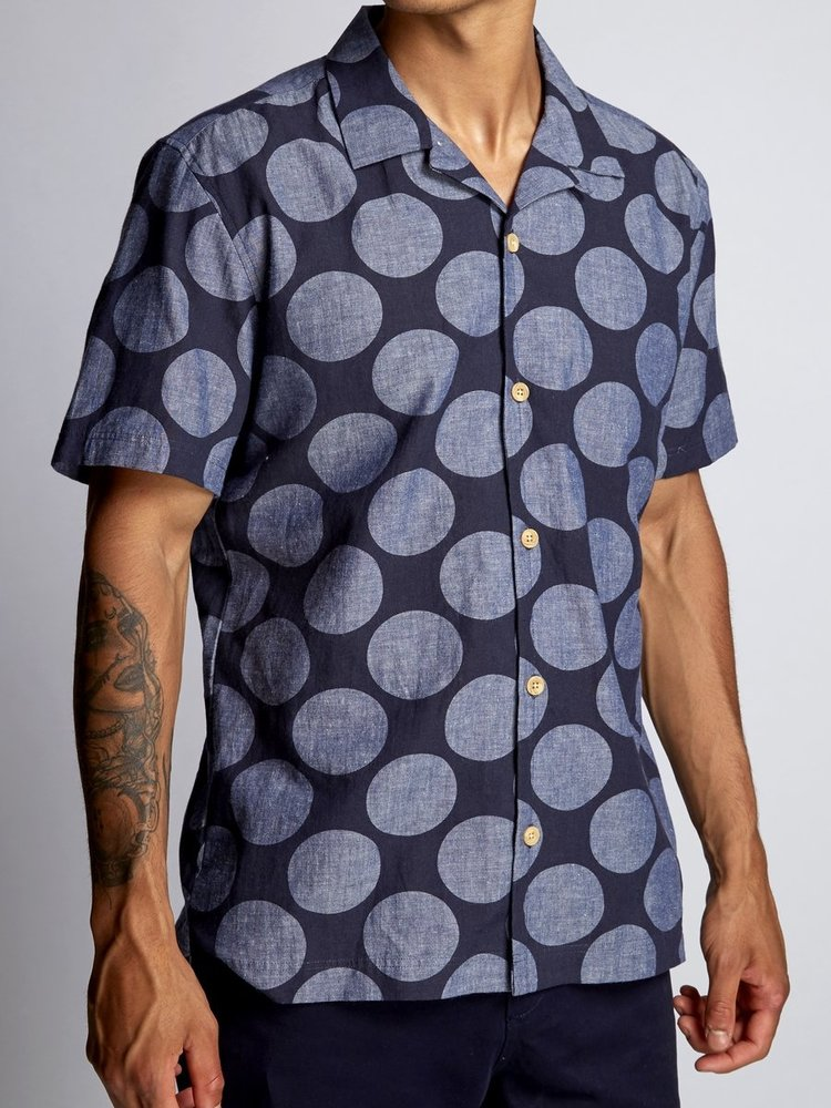 HYMN London Hymn 'SPOT' Indigo Printed Spot Resort Shirt
