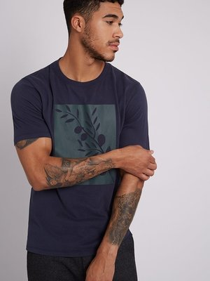 HYMN London 'OLIVE' Square Branch Print Navy T-Shirt