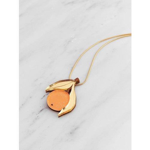 Wolf & Moon Orange Necklace