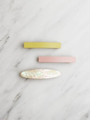 Wolf & Moon Set of 3 Hair Clips - Chartreuse