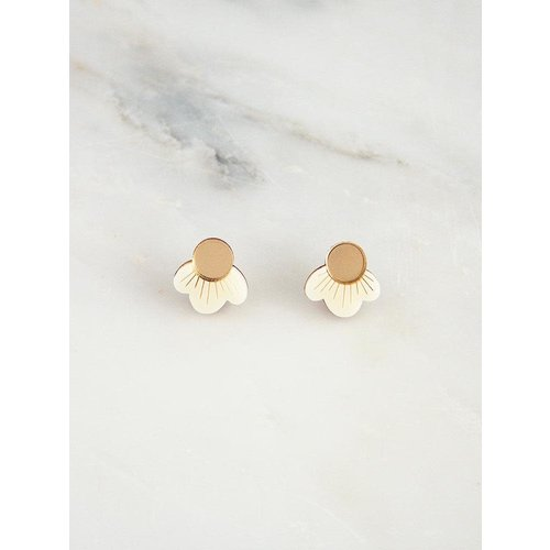 Wolf & Moon Wildflower Studs