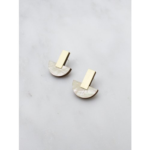 Wolf & Moon Crescent Studs Mother of Pearl