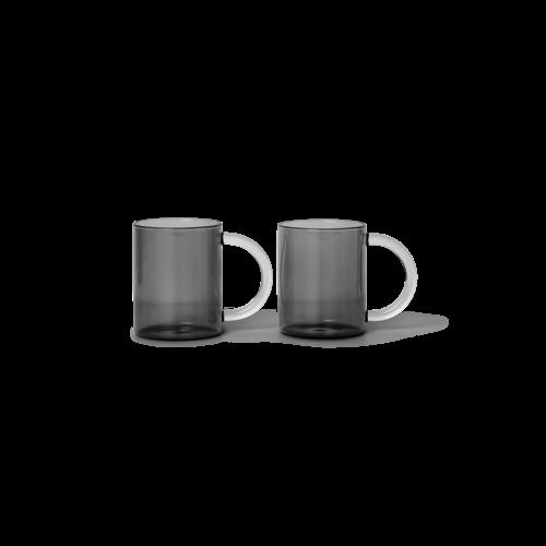 ferm LIVING Still Mugs (Set of 2) - Smoked Glass