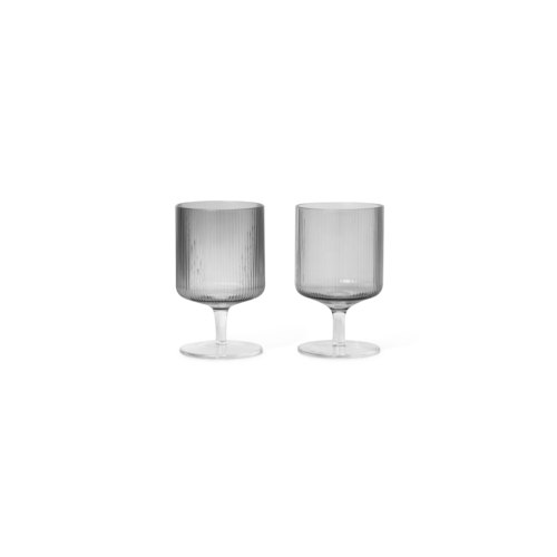 ferm LIVING Ripple Wine Glasses (Set of 2) - Smoked Glass