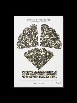 ferm LIVING Ferm Living Marbling Paper Cones - Black