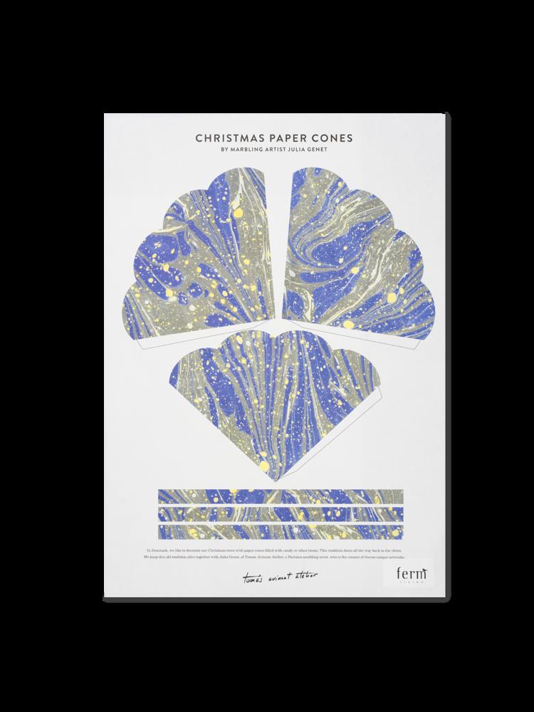 ferm LIVING Ferm Living Marbling Paper Cones - Bright Blue